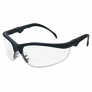 Clear Scratch-Resistant Bifocal Safety Reading Glasses, +2.5 Diopter