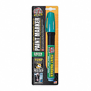Permanent Pump Action Paint Marker, Paint-Based, Greens Color Family, Medium Tip, 1 EA