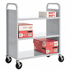 20 Gauge Steel Book Truck with 3 Flat Shelves, Dove Gray