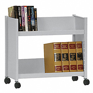 20 Gauge Steel Book Truck with 2 Sloped Shelves, Dove Gray