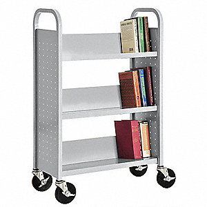Book Truck,46Hx31W In,3 Shelves,Gray