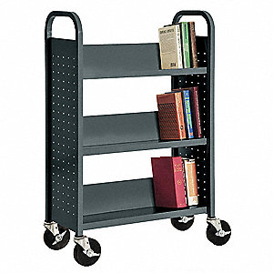 20 Gauge Steel Book Truck with 3 Sloped Shelves, Charcoal