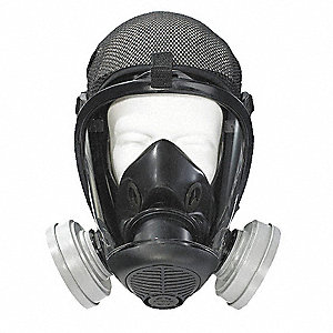Bayonet Connection Full Face Respirator, 5 Point w/ Mesh Suspension, M
