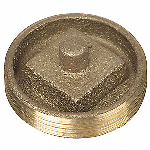 "3-1/2"" Recessed Head Cleanout Plug, Brass"