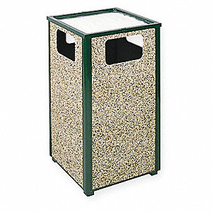 24 gal. Aspen Series , Green, Brown, Steel, Stone, Ash/Trash Can