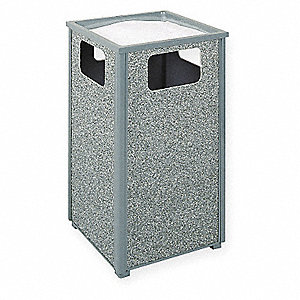 Ash/Trash Can,24 gal.,Gray