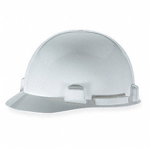 Front Brim Hard Hat, 4 pt. Ratchet Suspension, White