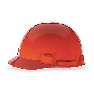 Front Brim Hard Hat, 4 pt. Ratchet Suspension, Red, Hat Size: 6-1/2 to 8