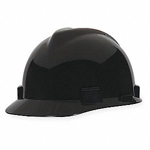 V-Gard Class E Front Brim Hard Hat, Fastrac Suspension, Black, Hat Size: 6-1/2 to 8