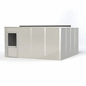 Modular In-Plant Office, Unassembled 4-Wall, 8 ft. Height, 16 ft. Width, 16 ft. Depth