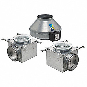 "Galvanized Steel Exhaust Fan Kit, Fits Duct Dia. 6"", Voltage 120V"