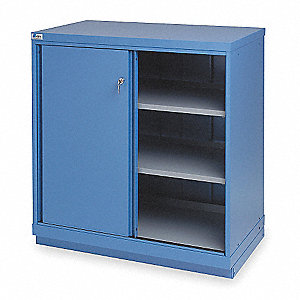 "Base Cabinet, Sliding Doors, 40-1/4""W x 22-1/2""D x 41-3/4""H, 3 Shelves, Bright Blue"
