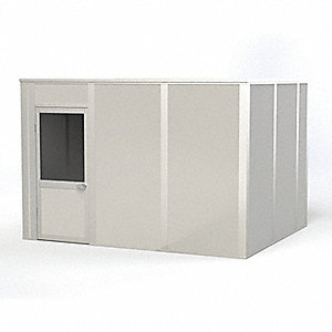 Modular In-Plant Office, Unassembled 4-Wall, 8 ft. Height, 12 ft. Width, 10 ft. Depth