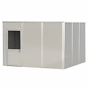 Modular In-Plant Office, Unassembled 4-Wall, 8 ft. Height, 12 ft. Width, 12 ft. Depth
