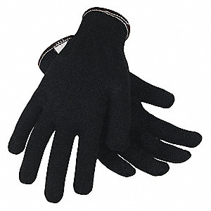 Uncoated Cut Resistant Gloves, ANSI/ISEA Cut Level 2, Kevlar® Lining, Black, XL, PR 1