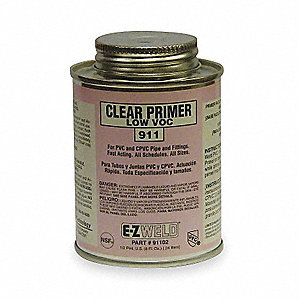 Clear Primer, Clear, 8 oz., for Pipe And Fittings