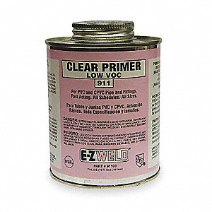Clear Primer, Clear, 16 oz., for Pipe And Fittings