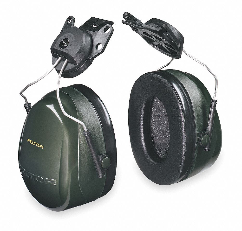 Hard Hat Mounted Ear Muffs,  24 dB Noise Reduction Rating NRR,  Dielectric Yes,  Black, Green