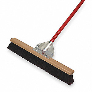"Polypropylene Push Broom, Block Size 24"", Hardwood Block Material"