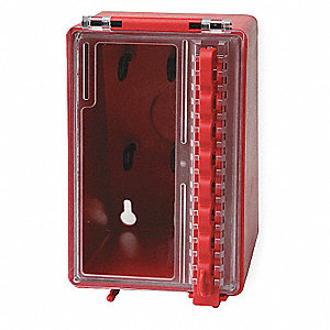 "Red Plastic Group Lockout Box, Max. Number of Padlocks: 8, 6"" x 4"""