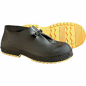 "4""H Men's Overshoes, Plain Toe Type, PVC Upper Material, Black, Fits Shoe Size 14 to 15"