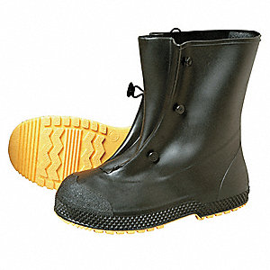 "4""H Men's Overboots Plain Toe Type PVC Upper Material Black/Yellow Size S - 1 Each"