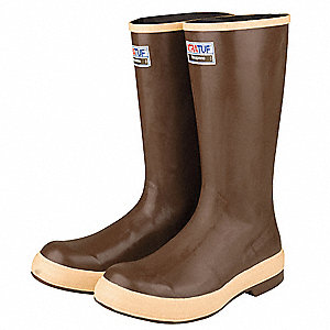 "16""H Men's Knee Boots, Plain Toe Type, Neoprene Upper Material, Brown, Size 10"