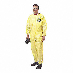 Hooded Chemical Resistant Coveralls with Elastic Cuff, Yellow, 2XL/3XL, Zytron® 100
