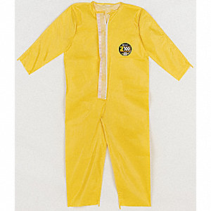 Collared Chemical Resistant Coveralls with Open Cuff, Yellow, L/XL, Zytron® 100