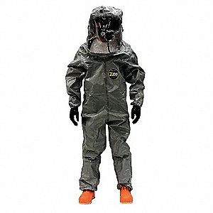 Level B Rear-Entry Encapsulated Suit, Gray, Size S/M, Zytron 200