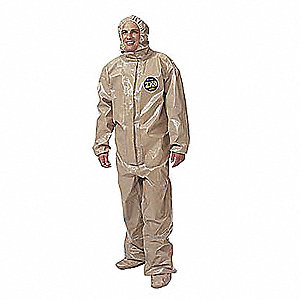 Collared Chemical Resistant Coveralls with Elastic Cuff, Tan, 2XL/3XL, Zytron® 300