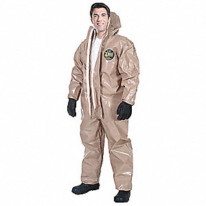 Hooded Chemical Resistant Coveralls with Elastic Cuff, Tan, S/M, Zytron® 300