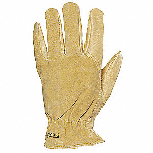 Pigskin Leather Driver's Gloves with Shirred Cuff, Tan, L