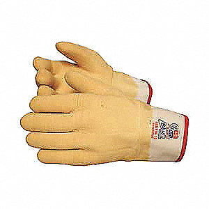 Natural Rubber Latex Coated Gloves, ANSI/ISEA Cut Level 3, Rubber Lining, Yellow, L, PR 1