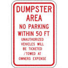 Dumpster Area No Parking Within 50 Ft Signs
