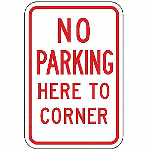 PARKING SIGN,18 X 12IN,R/WHT,TEXT