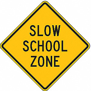"Text Slow School Zone, High Intensity Prismatic Recycled Aluminum School Zone Sign, Height 24"", Widt"