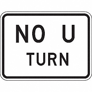 TRAFFIC SIGN,18 X 24IN,BK/WHT,NO U
