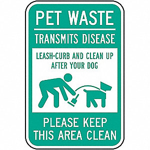"Pets, Pet Waste, Aluminum, 18"" x 12"", With Mounting Holes, Not Retroreflective"