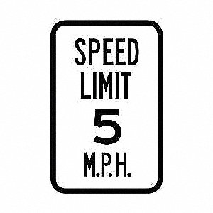 "Text Speed Limit 5, Reflective Aluminum Traffic Sign, Height 18"", Width 12"""