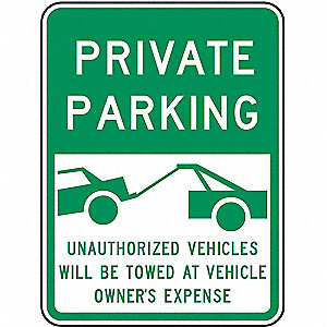 PARKING SIGN,24 X 18IN,GRN/WHT