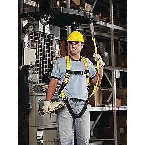 Universal General Industry Full Body Harness, 6000 lb. Tensile Strength, Yellow