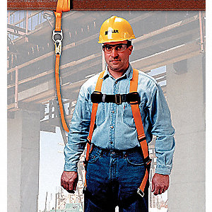 Black, Universal Size Fall Protection Kit, 310 lb. Weight Capacity, Mating Leg Strap Buckles