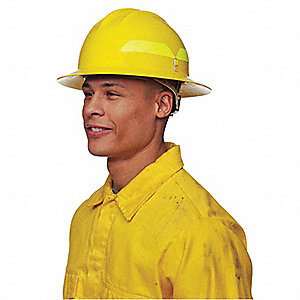 Yellow Fire Helmet, Shell Material: Thermoplastic, 6pt. Pinlock Suspension, Fits Hat Size: 6-1/2 to