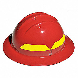 Red Fire Helmet, Shell Material: Thermoplastic, 6pt. Pinlock Suspension, Fits Hat Size: 6-1/2 to 8