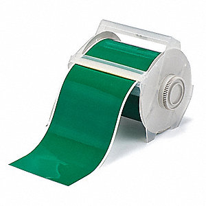 "Green Vinyl Film Label Tape Cartridge, Indoor/Outdoor Label Type, 100 ft. Length, 4"" Width"