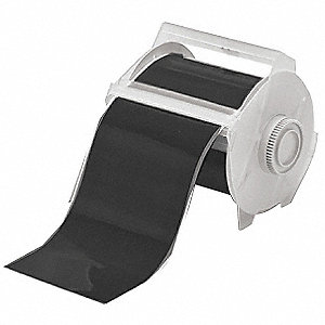 "Black Vinyl Film Label Tape Cartridge, Indoor/Outdoor Label Type, 100 ft. Length, 4"" Width"