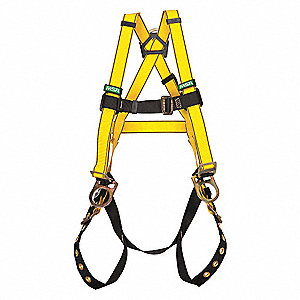 Universal General Industry Full Body Harness, 6000 lb. Tensile Strength, 400 lb. Weight Capacity, Ye