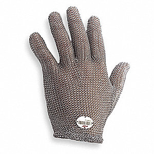 Stainless Steel Mesh Cut Resistant Glove, Silver, M, EA 1