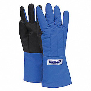 "Mid-Arm Length Cryogenic Gloves, Laminated Nylon With Silicone Coated Palm, Size L, 14"" Length"